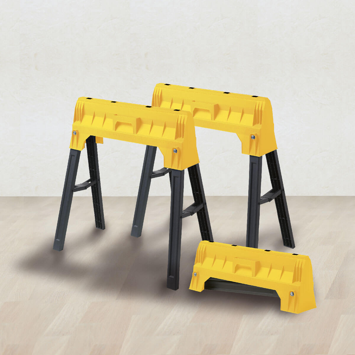 Tréteau plastique pliable jaune