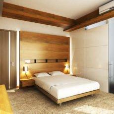 Placage en bois véritable - tête de lit